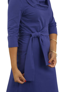 Cowl Neck Dress - Blueberry