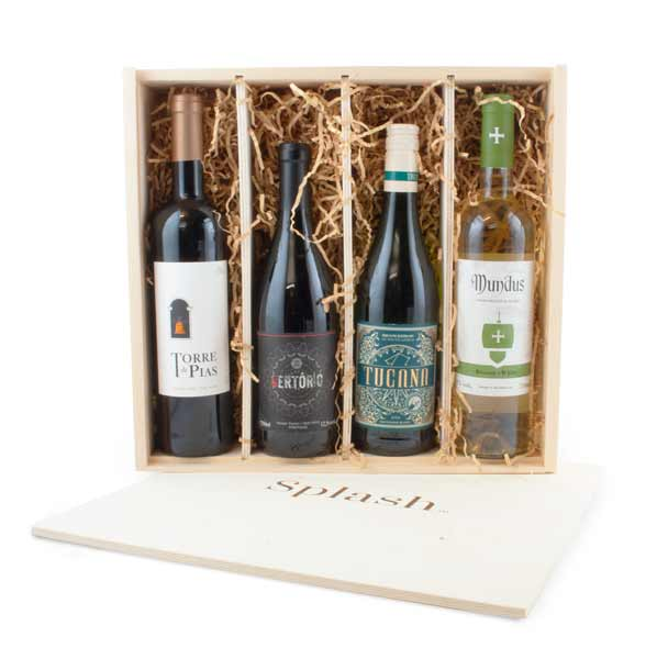 Splash Wines Wood Box Discovery 4-Pack Gift