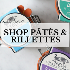 The collection of artisan British soft charcuterie pates and rillettes from Cornish Charcuterie