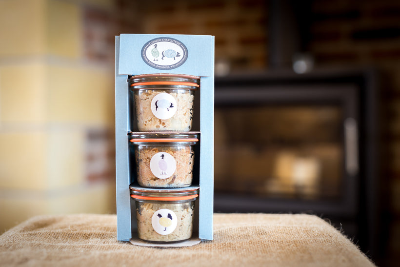 The rillette gift box from Cornish Charcuterie is a perfect gift for any food lover, containing a selection of our best selling rillettes