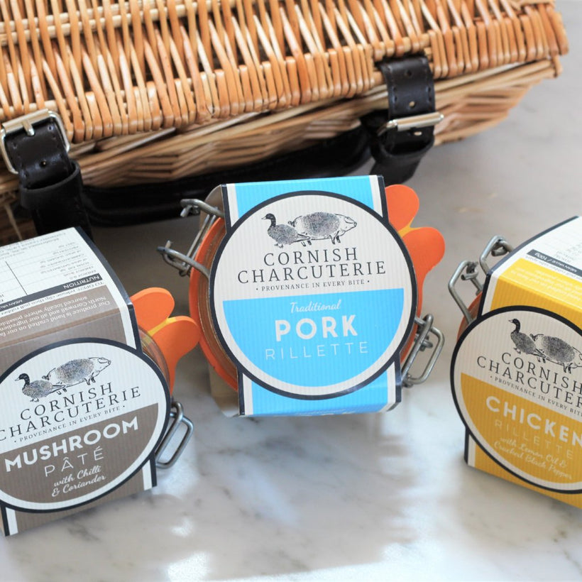 Set of three classic artisan pâté and rillettes
