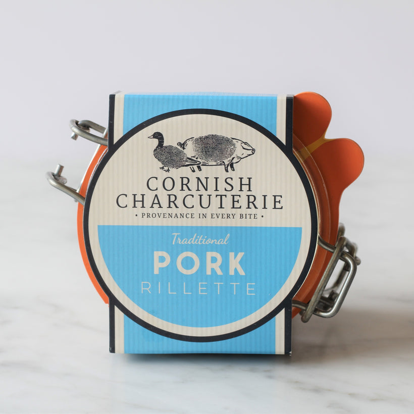 Cornish Charcuterie's award-winning traditional pork rillette is made from Norton Barton Farm Cornish Lop pork, poached in duck fat, lightly seasoned and shredded.