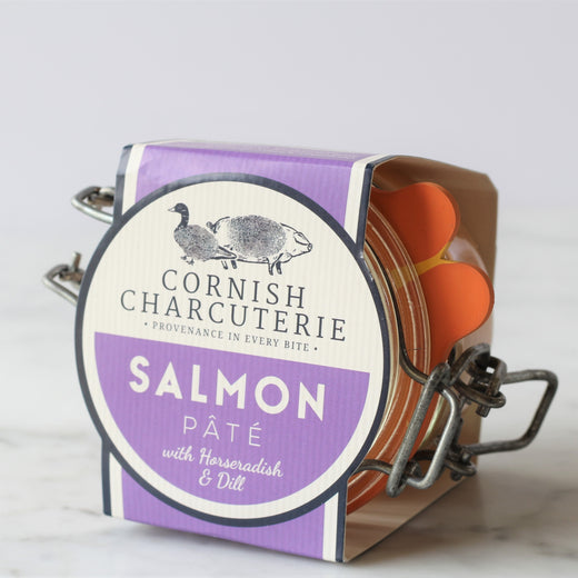 A Scandi twist on our decadent salmon pâtés. The richness is cut with a little heat from the horseradish and herby dill.