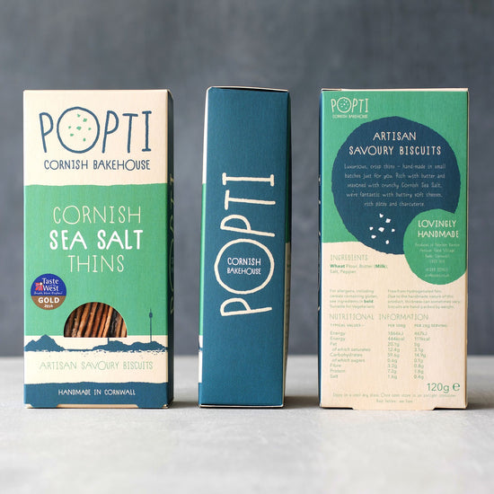 Artisan Cornish sea salt savoury biscuits from POPTI. Perfectly paired with soft cheese and cured meats from Cornish Charcuterie
