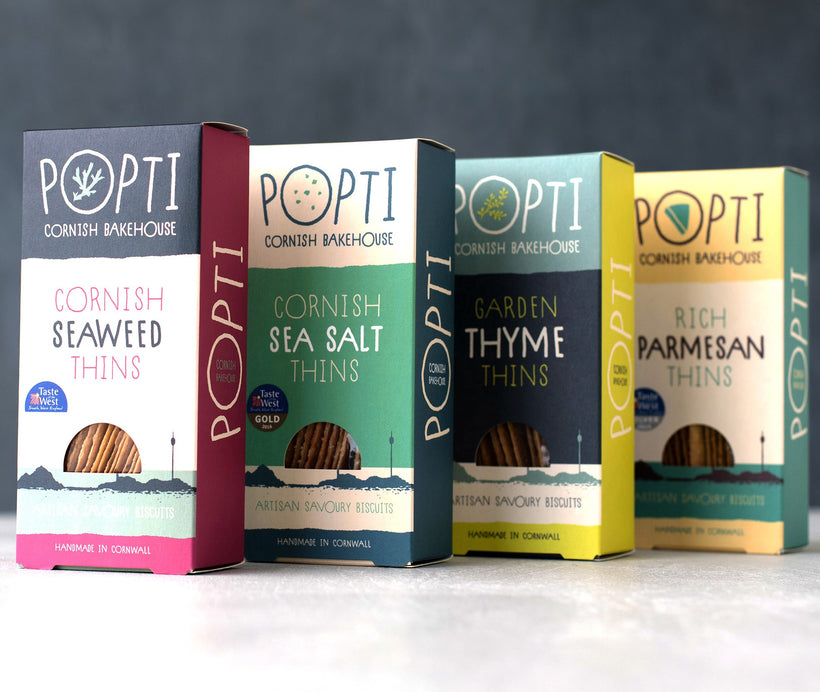 Set of four artisan savoury biscuits from POPTI cornish bakehouse