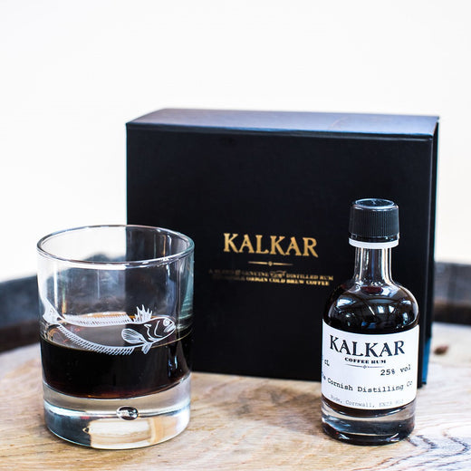 Kalkar coffee rum gift pack with an engraved rum glass