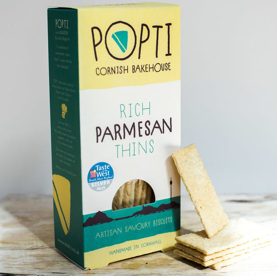 Rich Parmesan Savoury Thins from POPTI Cornish Bakehouse are made with butter and hand-sprinkled with freshly grated Parmesan.