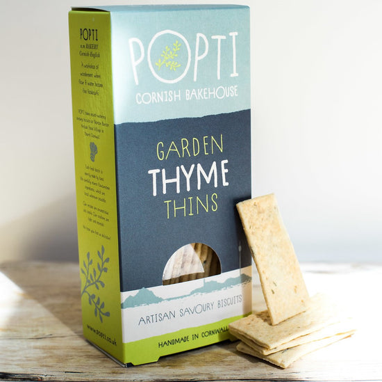 Artisan Cornish garden thyme savoury biscuits from POPTI. Perfectly paired with soft cheese and cured meats from Cornish Charcuterie