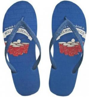 Men's Beach Flip Flops Sandals Be As You Are Beer Pong League Size 8-9