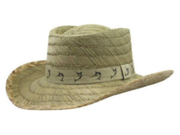 Dorfman Pacific Men's Marlin Tape Natural Rush Straw Gambler Hat