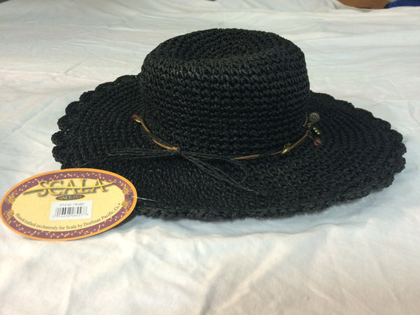 Scala wide brim hat with embellished hat band
