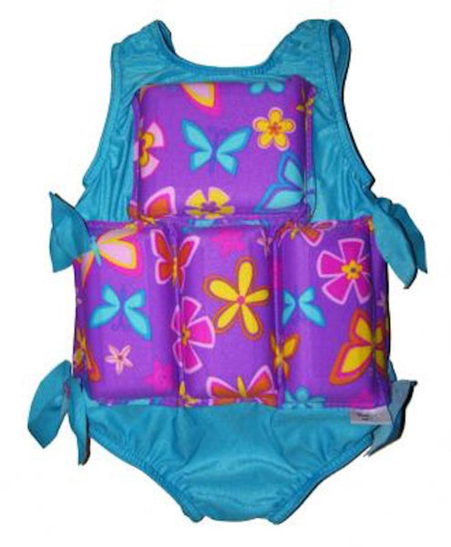 My Pool Pal Flotation swimsuit Purple Flowers  L (50-70)