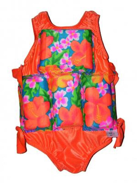 My Pool Pal Flotation Swimsuit Orange Tropical Garden
