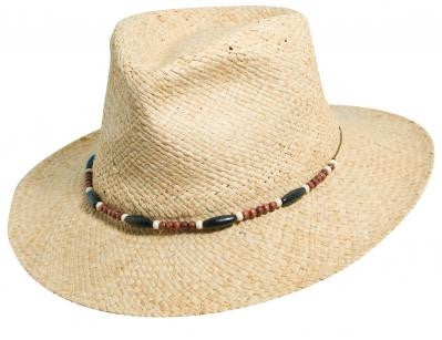 Natural hat with beaded band Dorfman Pacific L/XL