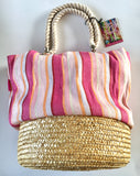 Beach Bag Awning striped straw bottom shoulder bag by Sun N Sand