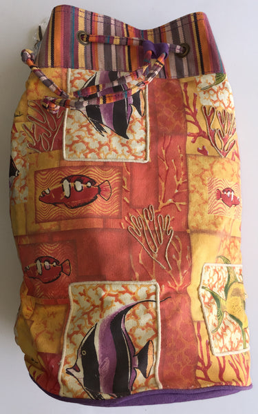 Paul Brent Orange fish drawstring sling bag