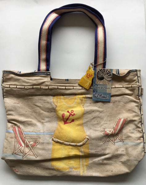 Sun N Sand Vintage Yellow bathing suit tote bag by Paul Brent