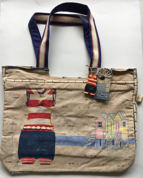 Sun N Sand Vintage Blue bathing suit tote bag by Paul Brent