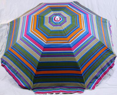 6' Beach Umbrella Rainforest striped with Sling Pack by Baja Beach