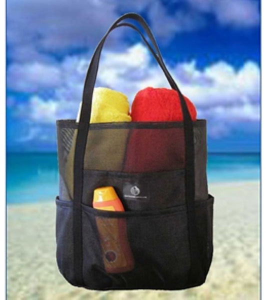 Saltwater Canvas Dolphin Bag Black Medium Mesh Beach Bag