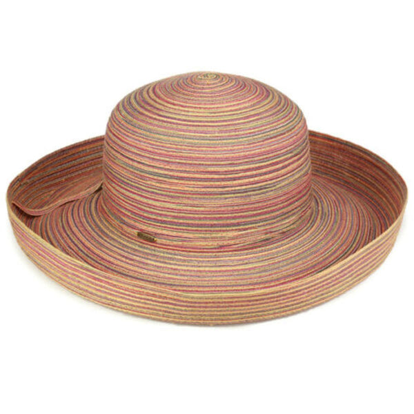 SCALA Collection Womens Multi-stripe Upturned Brim Sun Hat with UV Protection UPF 50