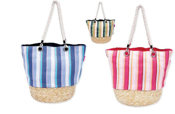 Classy Beach Bag Awning striped straw bottom shoulder bag by Sun N Sand