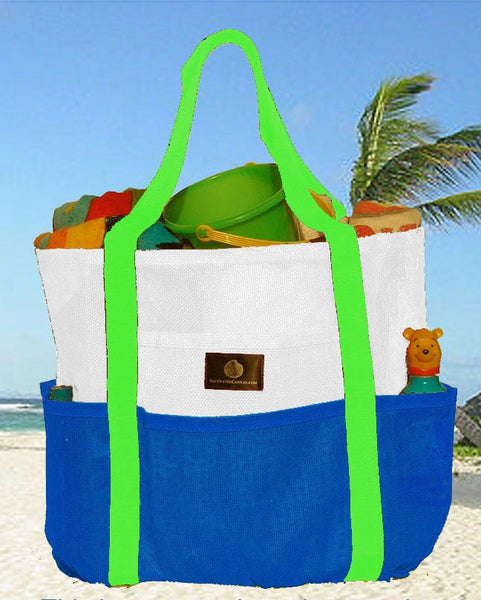 Saltwater Canvas Whale Bag Caribbean Blue and White Large Mesh Family Beach Bag