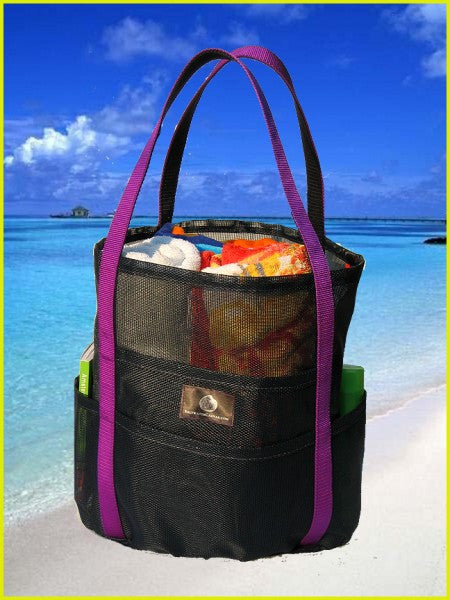 Saltwater Canvas Dolphin Bag Navy/Purple Medium Mesh Beach Bag