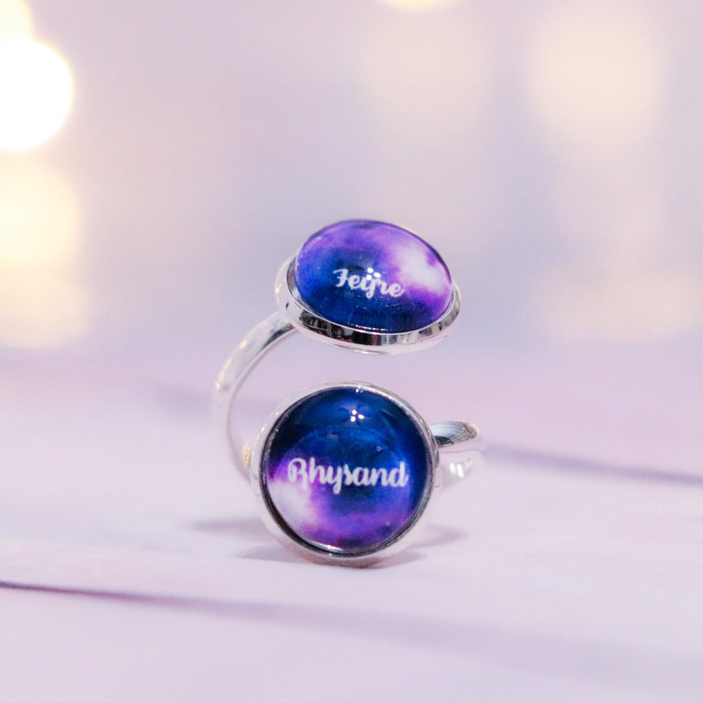 ACOTAR Rhysand/Feyre (Feysand) Double Cabochon Adjustable Silver Ring