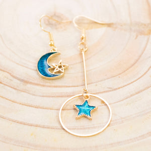 The Lunar Chronicles Asymmetrical Galaxy Earrings Pair 3