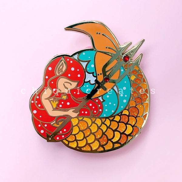 The Siren Princess Mermaid Glitter Enamel Pin