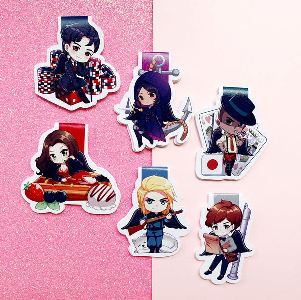 SEMI-GLOSS The Six Crows Cute Chibi Magnetic Bookmarks