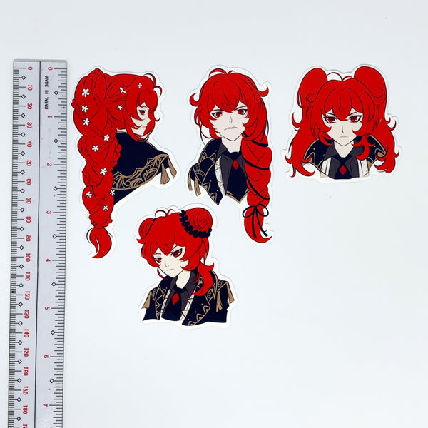Diluc Ragnvindr Genshin Impact Cute Hairstyles Waterproof Vinyl Sticker Pack (4 per Set)