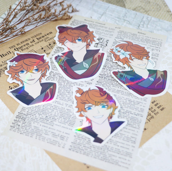 Tartaglia/Childe Genshin Impact Cute Hairstyles Waterproof Vinyl Sticker Pack (4 per Set)