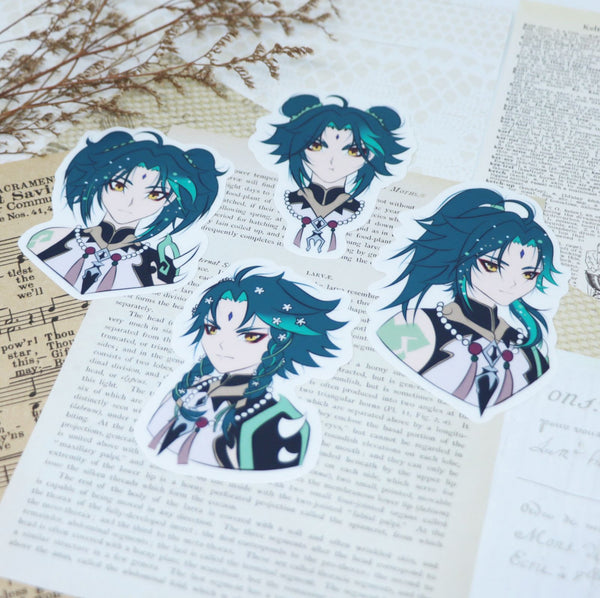 Xiao Genshin Impact Cute Hairstyles Waterproof Vinyl Sticker Pack (4 per Set)