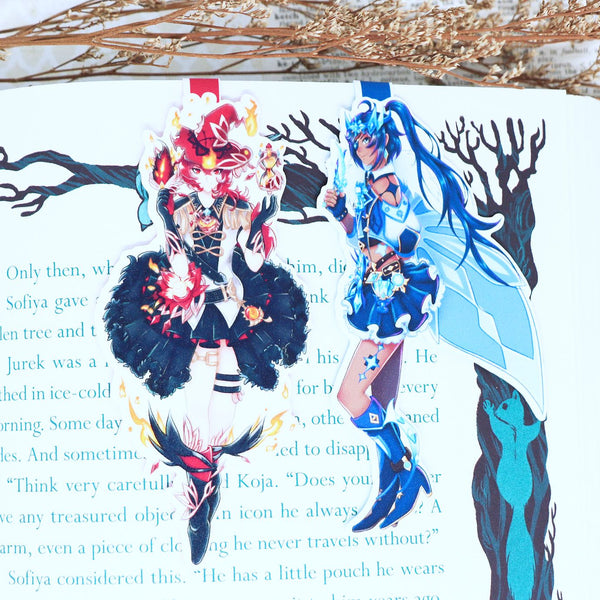 Genshin Impact Diluc & Kaeya Magical Girl Magnetic Bookmarks