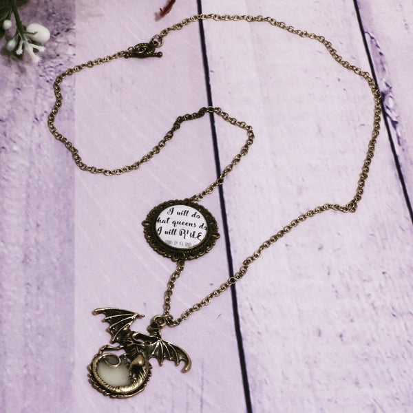 "Game of Thrones Daenerys Targaryen Necklace - ""I Will Rule"""
