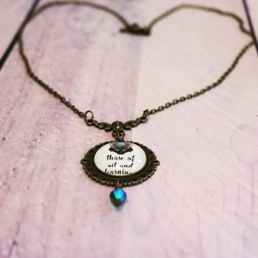"Harry Potter Hogwarts House Ravenclaw Cabochon Necklace - ""Those of wit and learning"""