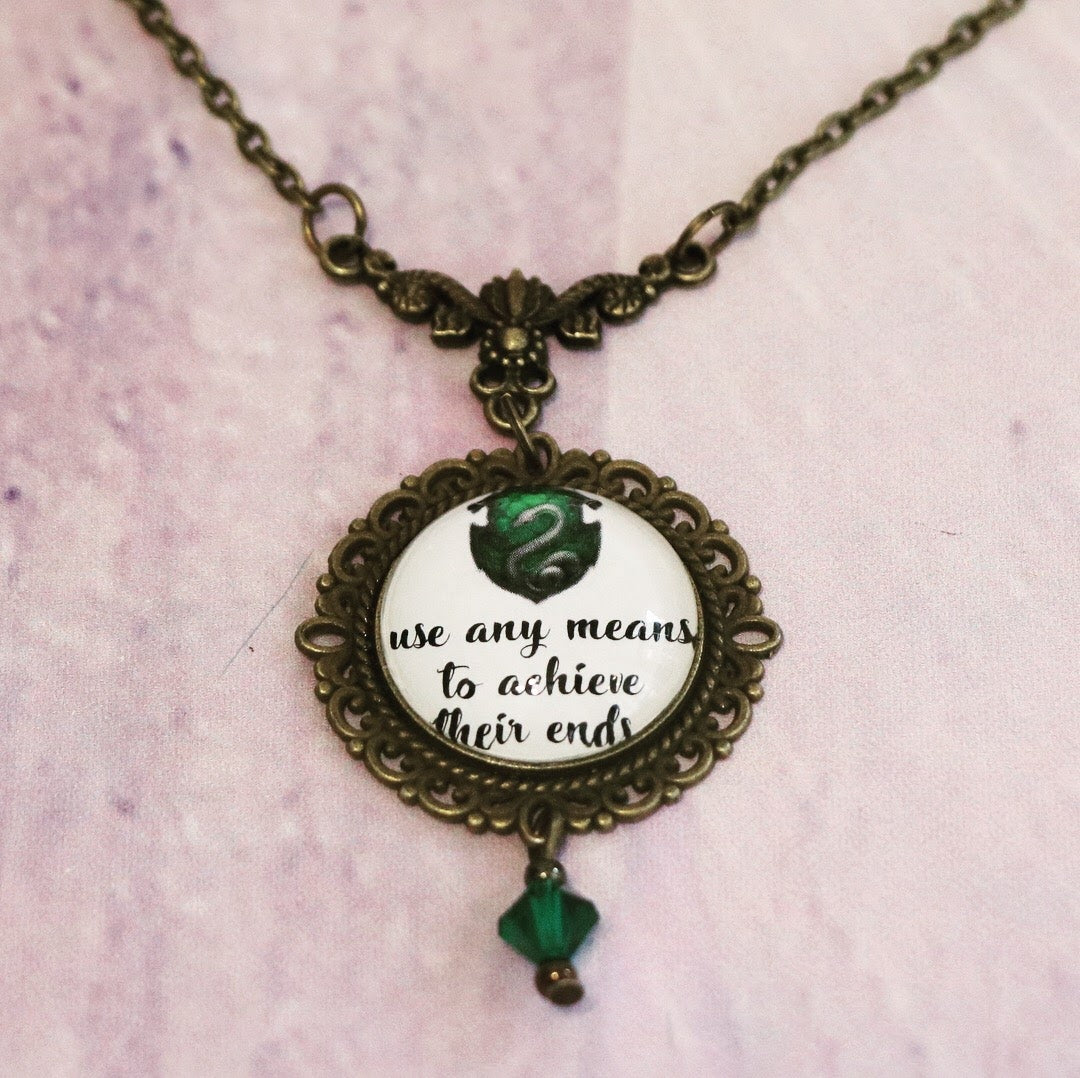 Wizarding House Quotes Cabochon Necklace Set