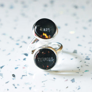 "AEITA ""Always Victorious"" Double Cabochon Adjustable Silver Ring"