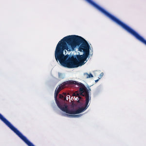 Vampire Academy Dimitri/Rose Double Cabochon Adjustable Silver Ring
