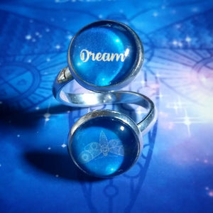 Strange the Dreamer Double Cabochon Adjustable Silver Ring