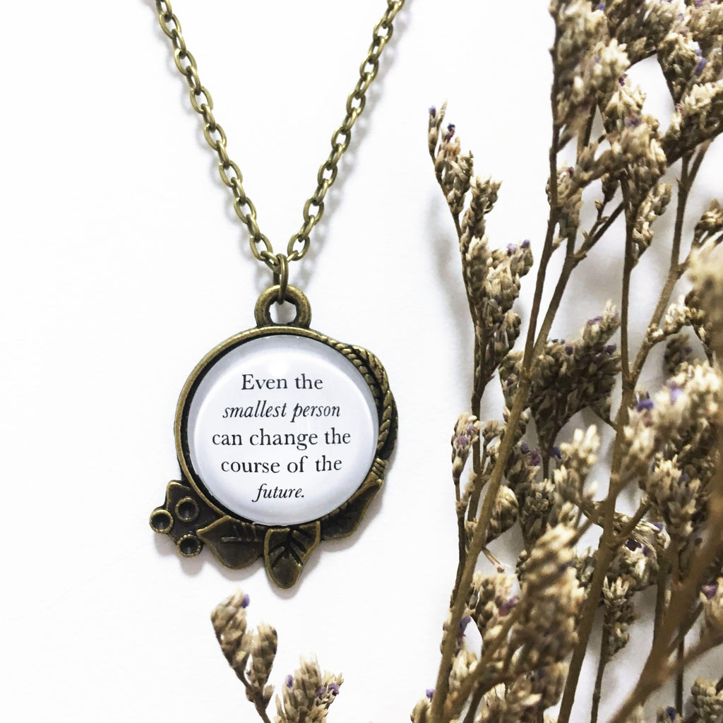 "LotR Antique Bronze Necklace ""Even the Smallest Person"""