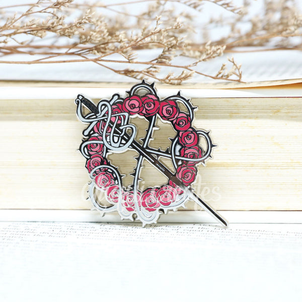 Roses and Thorns Rapier Silver Enamel Pin