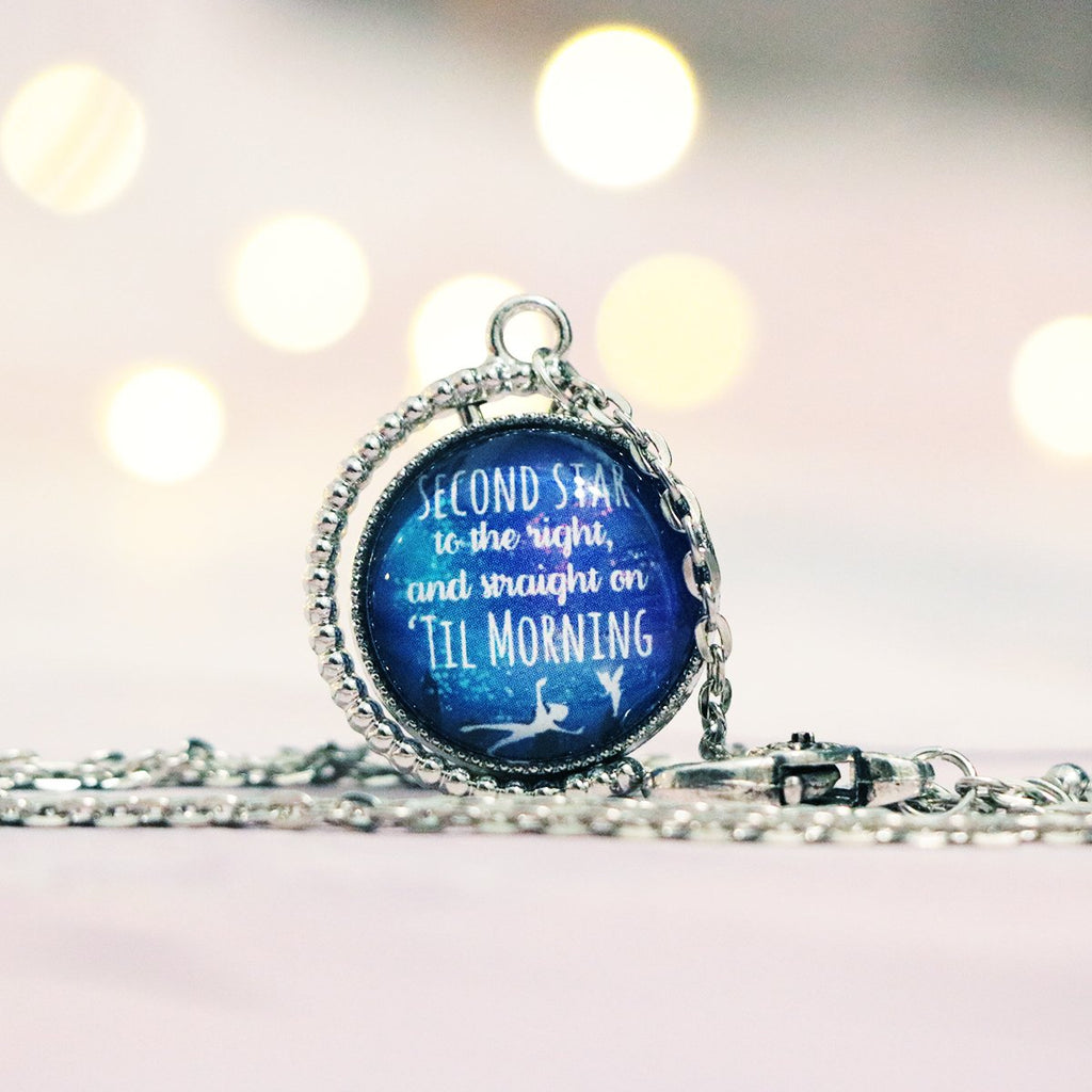 Peter Pan Double Quote, Double Sided Silver Necklace