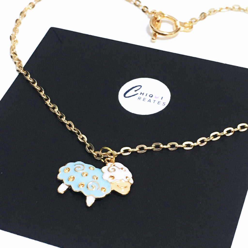 Light Gold Sleepy Sheep Necklace
