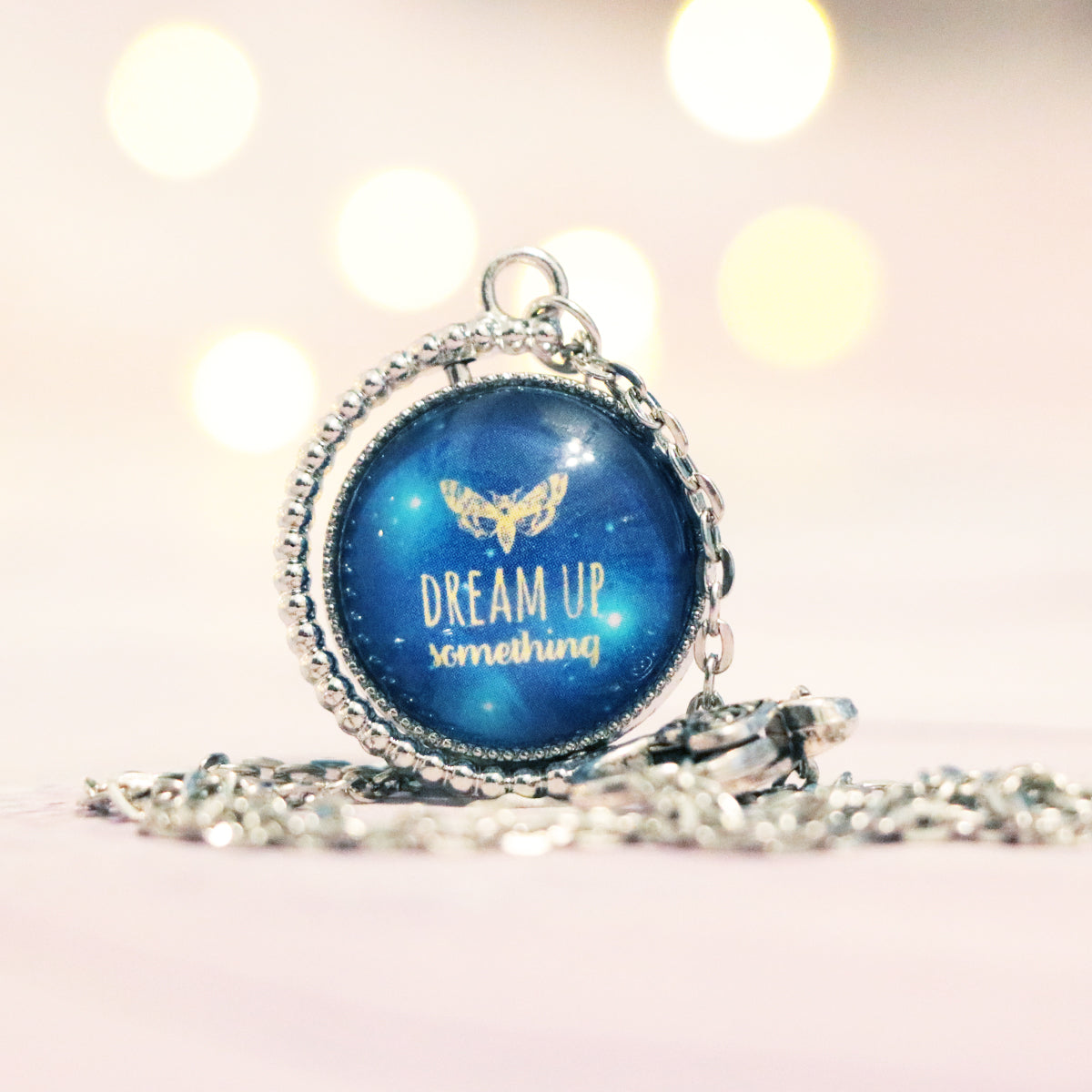 "Strange the Dreamer ""Dream up something"" Double Sided Necklace"