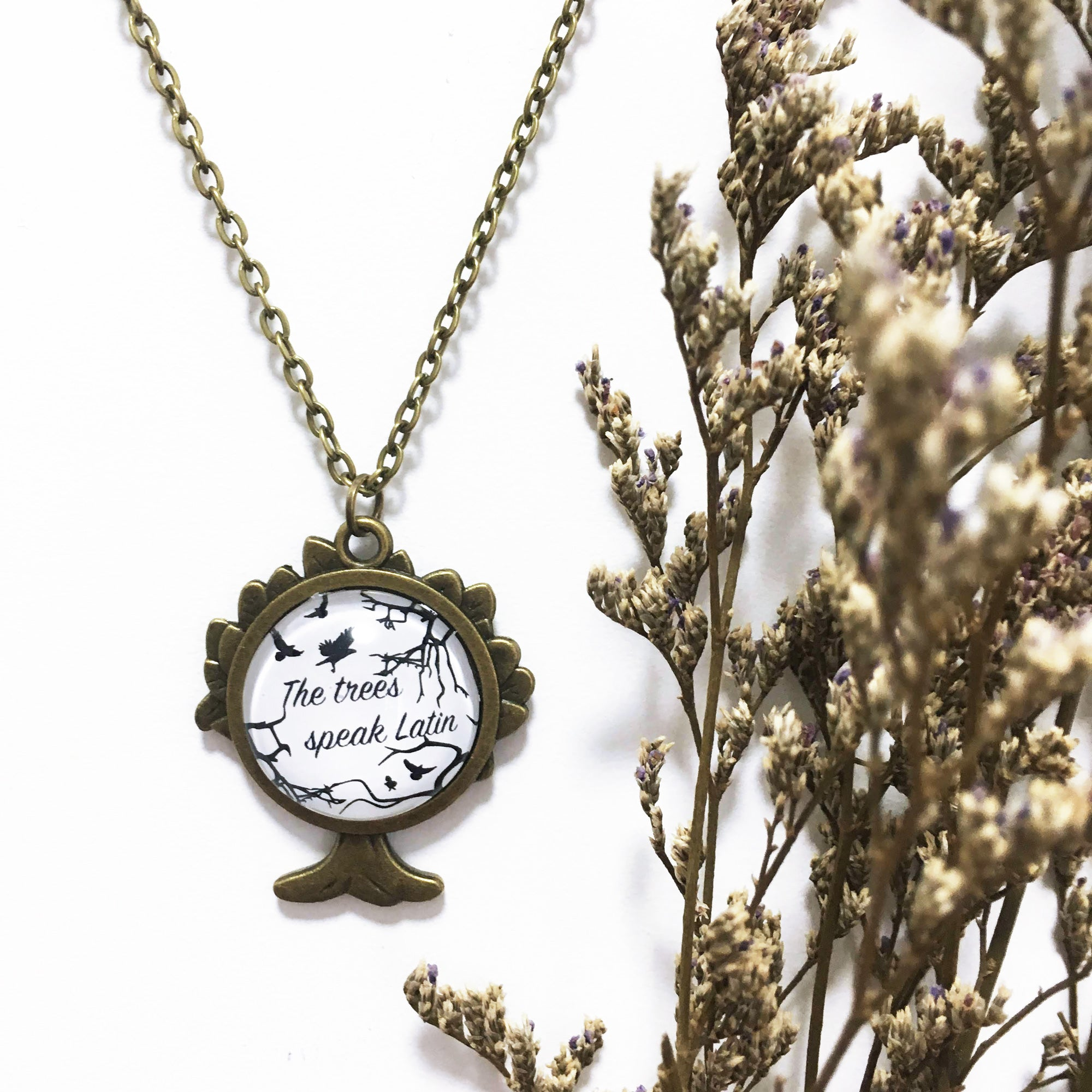 "The Raven Cycle - ""The Trees Speak Latin"" Antique Bronze Necklace"