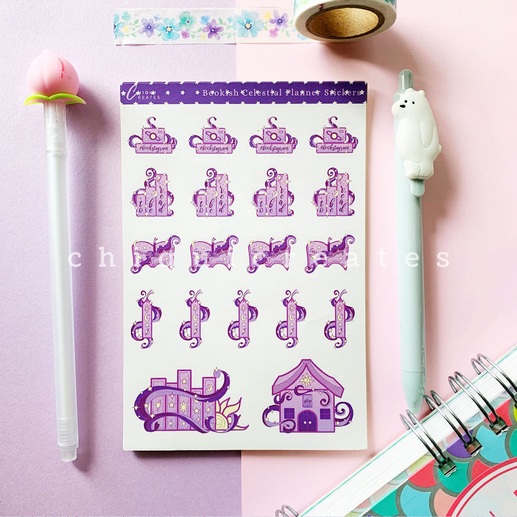 Celestial Bookish Sticker Sheet for Reading Journals / Planners