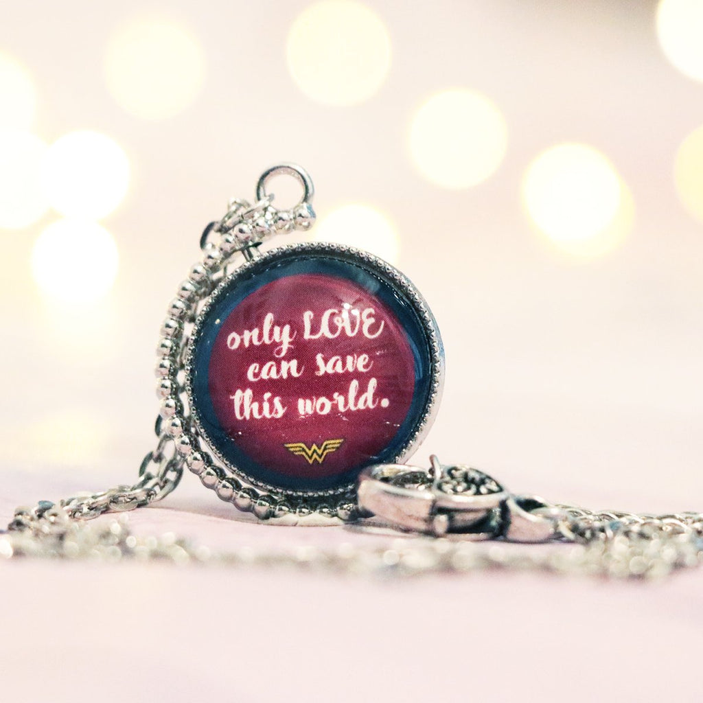 "Wonder Woman ""Only love can save this world"" Double Sided Necklace"